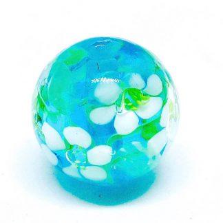 Handmade Glass Flower Beads 20mm Aqua Blue White