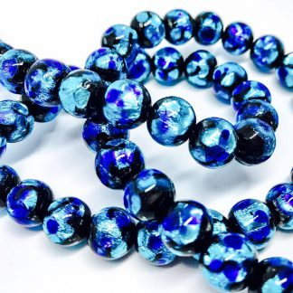 Handmade Glass with Pure Silver encased Clear Deep Blue Sea 10mm