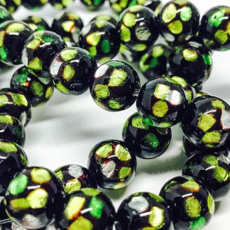 Handmade Glass bead with Pure Silver encased glass Lime 10mm