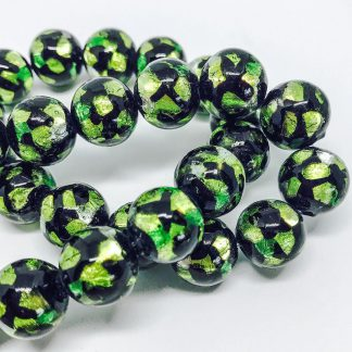 Handmade Glass with Pure Silver encased Clear Glass Green 8mm