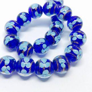 Handmade Glass bead Flower Encased Blue 12mm