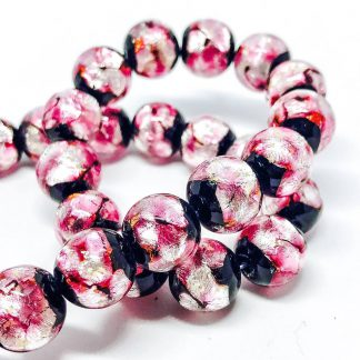 Handmade Glass bead with Pure Silver encased glass Pink 12mm