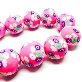 Handmade Polymer Clay Beads Round 18mm Flower Pink (2pcs)