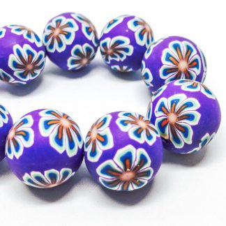 Handmade Polymer Clay Beads Round 18mm Flower Purple (2pcs)