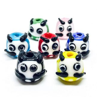 Handmade glass beads panda shape-0